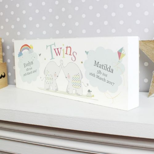 Personalised Hessian Elephant Twins Mantel Block